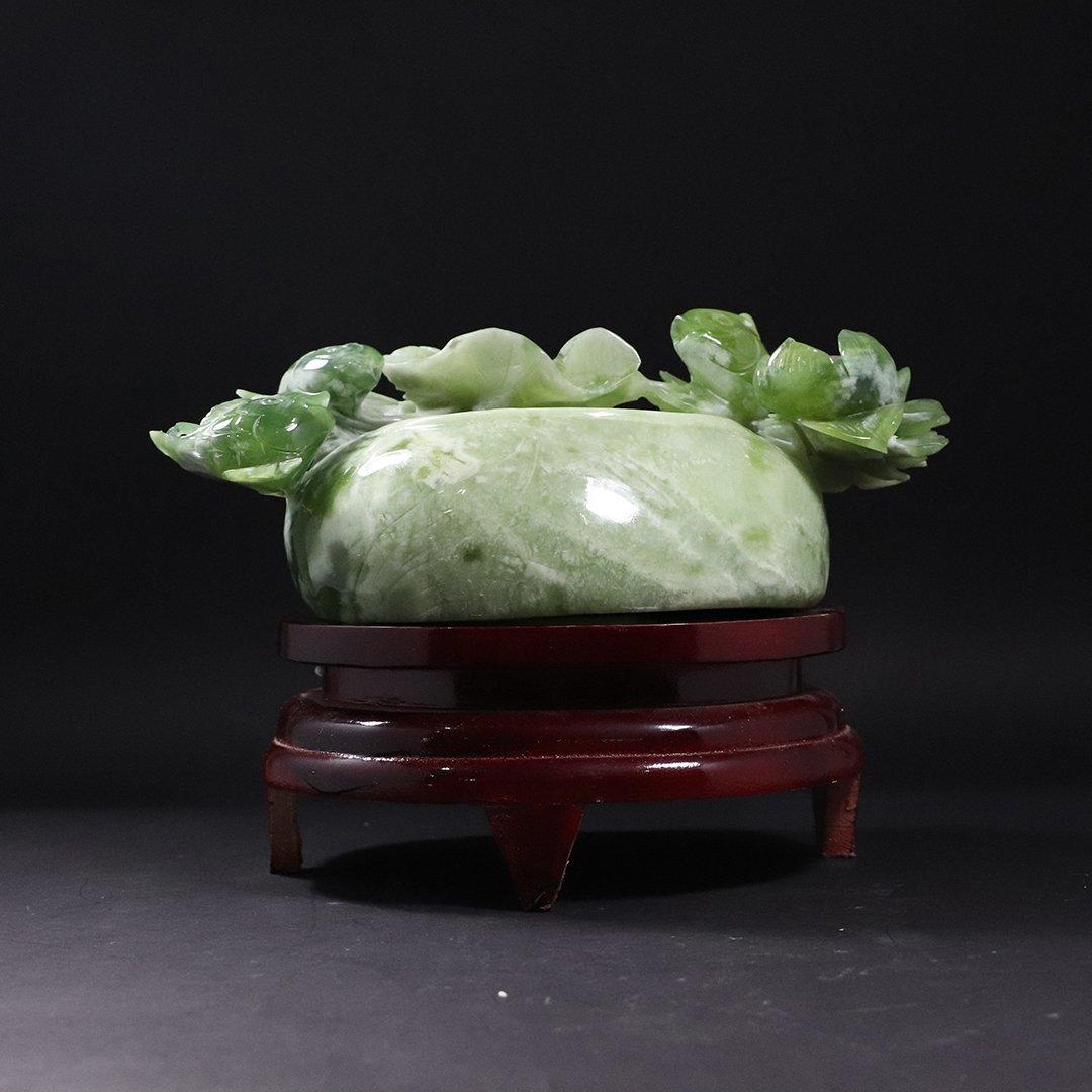 Chinese Green Jade Carved Sculpture Fish Bowl Teak Base