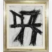 Franz Kline Style Of, Mid Century Modern Abstract Oil.