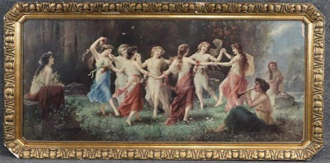 Victorian Color Print Dancing Maidens Ring Around Rosie