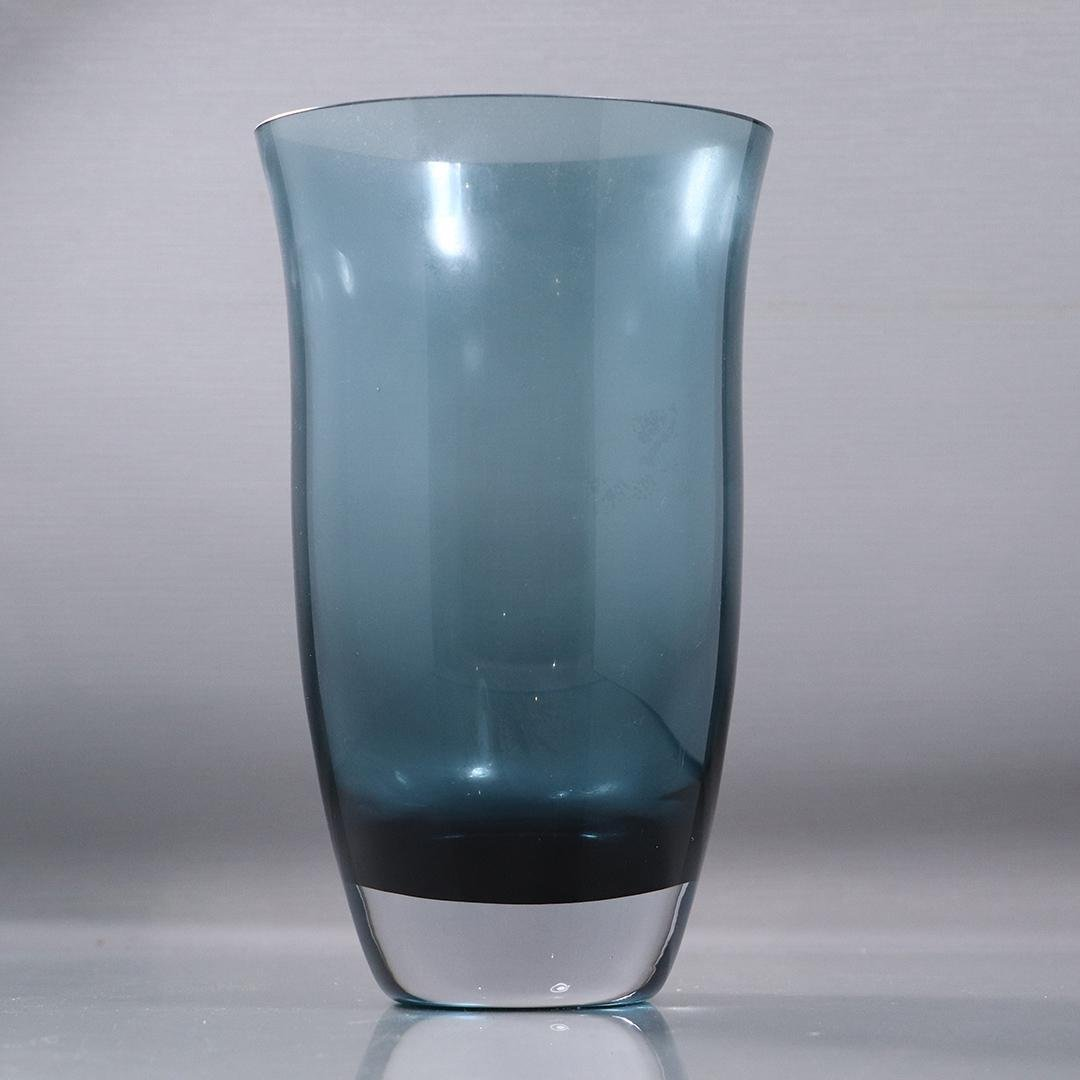 Mid-Century Modern Teal Blue Glass Vase Weighted Base