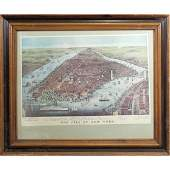 The City of New York in 1876  Color Print Framed