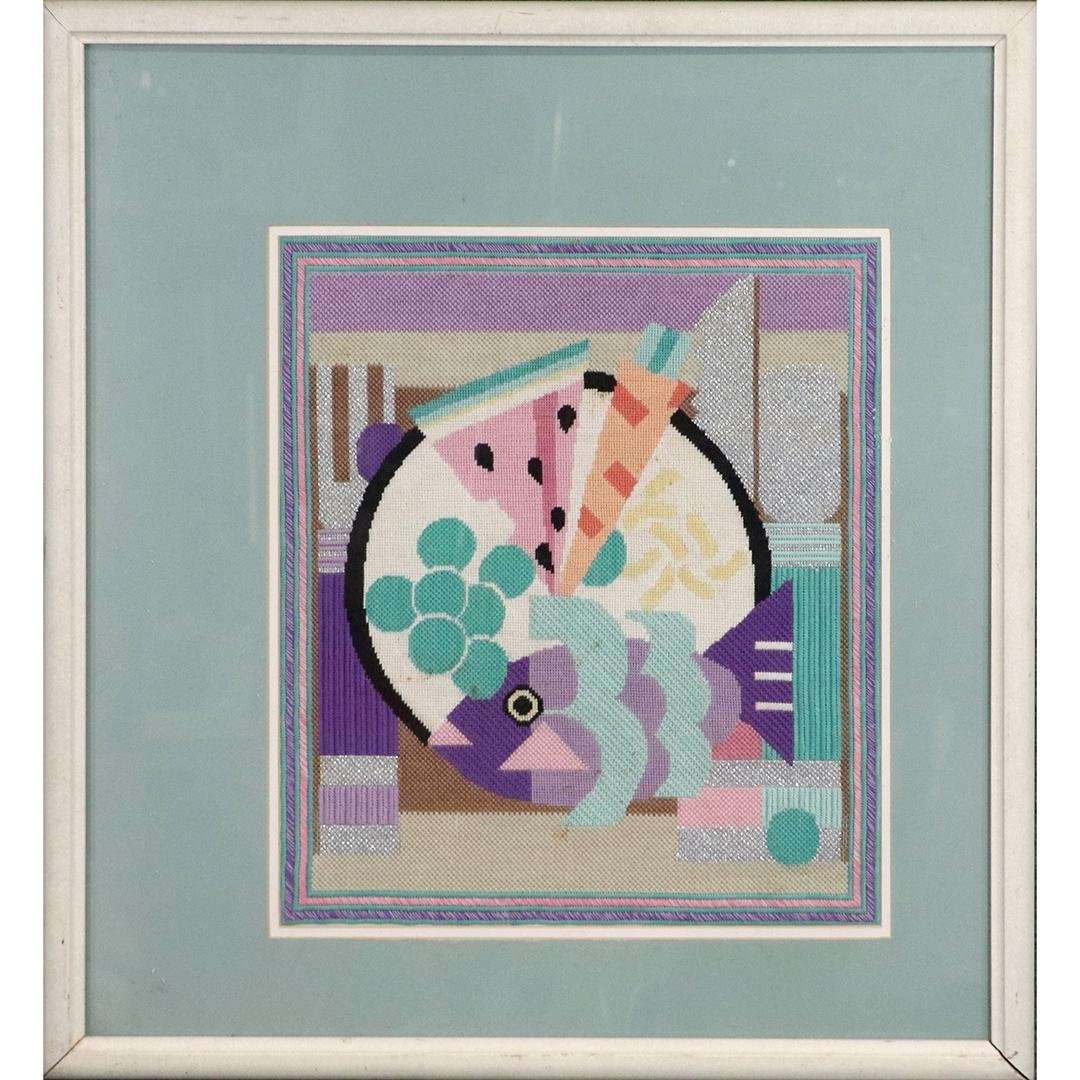 Mid-Century Modern Abstract Needlework of Fruit, Framed
