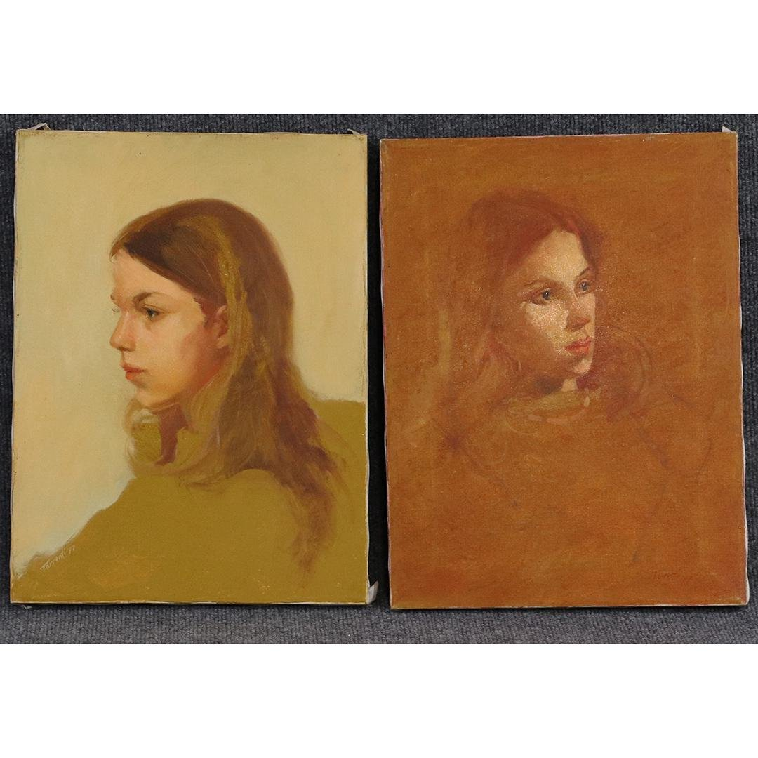 [2] Two Signed Torrenti 1977 Oil/c Portraits Young Girl