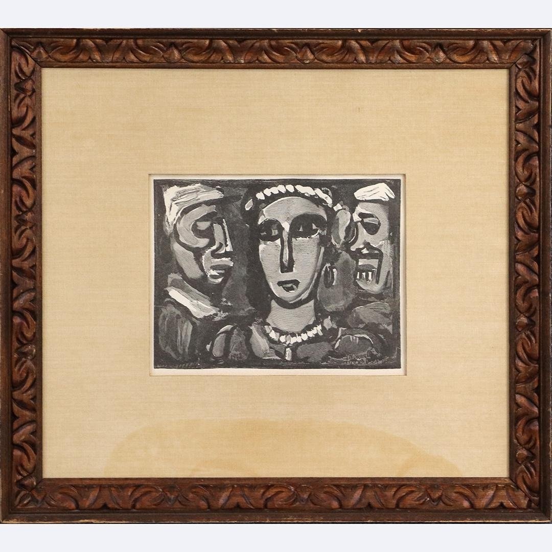 Georges Rouault, Wood Engraving Three Faces with COA