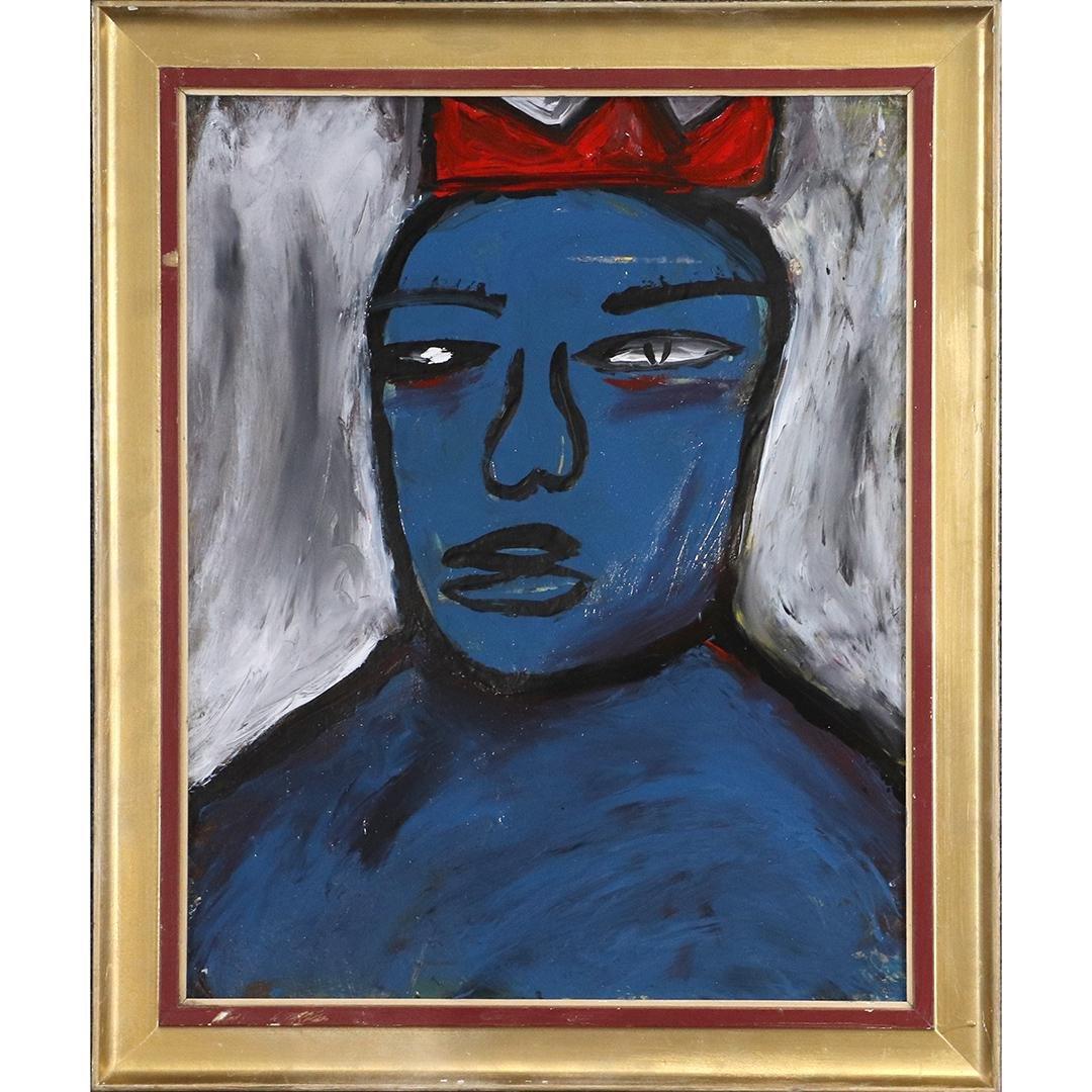 Pulgini, Mid-Century Modern Abstract Blue Man Oil/b