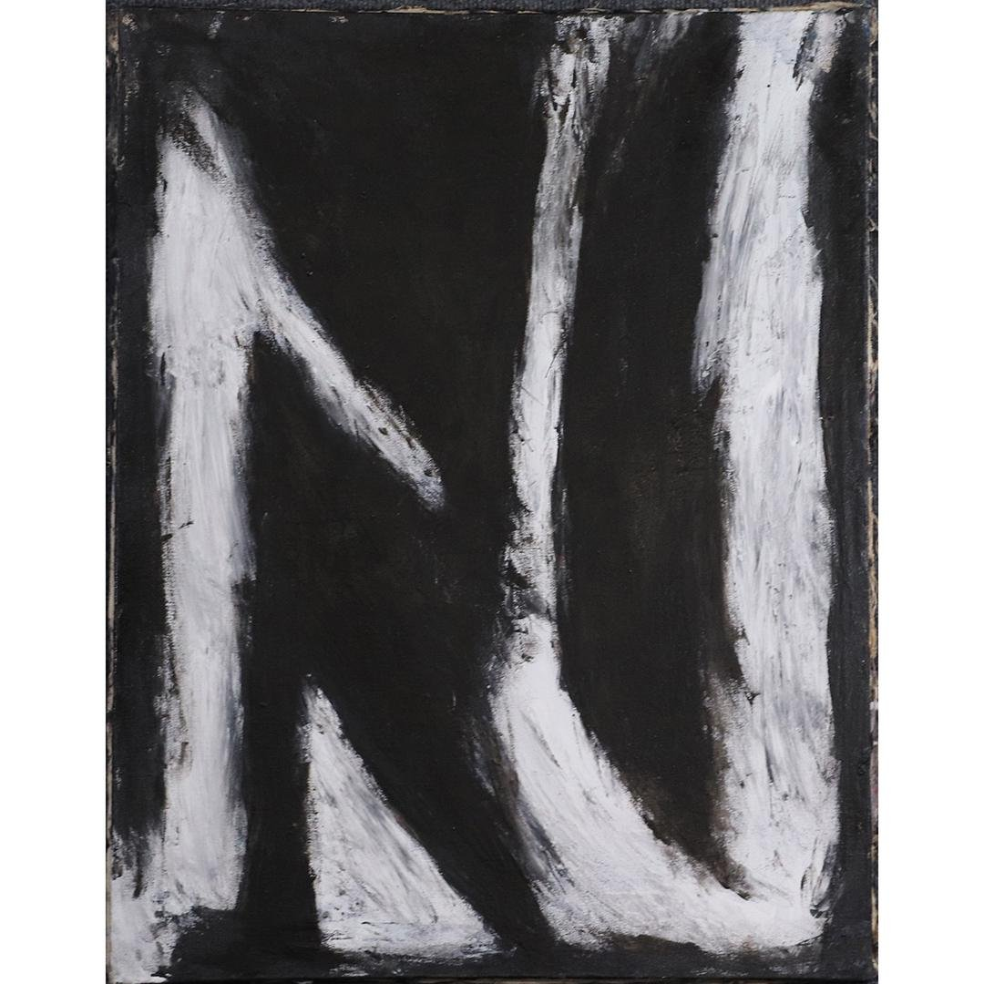 Pulgini, Mid-Century Modern Abstract White on Black O/c