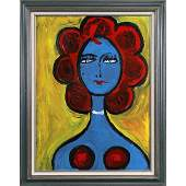 Pulgini, Mid-Century Modern Abstract Blue Woman Oil/b