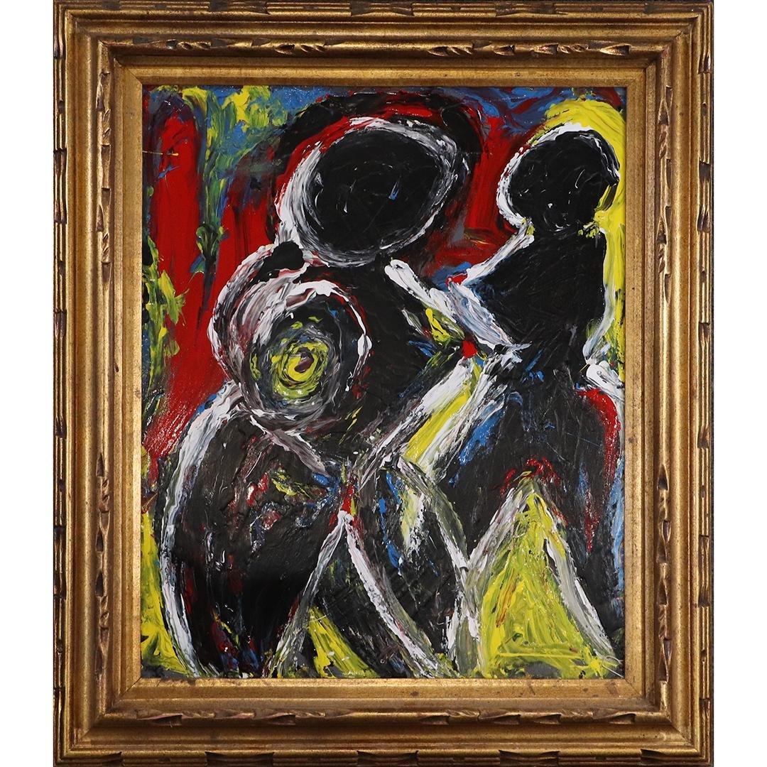 Pulgini, Mid-Century Modern Abstract Figures Oil/b