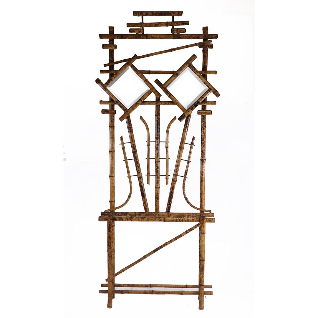 Victorian Fancy Bamboo Hall Rack with Beveled Mirrors