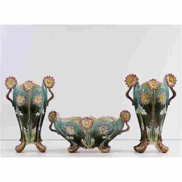 3 Piece Antique Majolica Center Bowl & 2 Vases Set