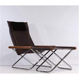 "TAKESHI NII ""New York"" Folding Chair and Ottoman, Clean"