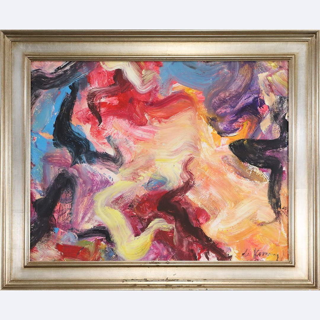De Kooning Abstract Oil Painting on Board, Framed
