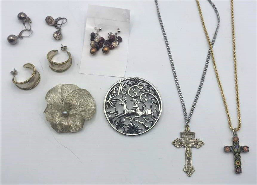 8 Assorted Earrings Brooches Cross Necklaces Inc Mosaic