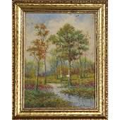 Edward Pritchard, Oil/b, Autumn Landscape with Stream