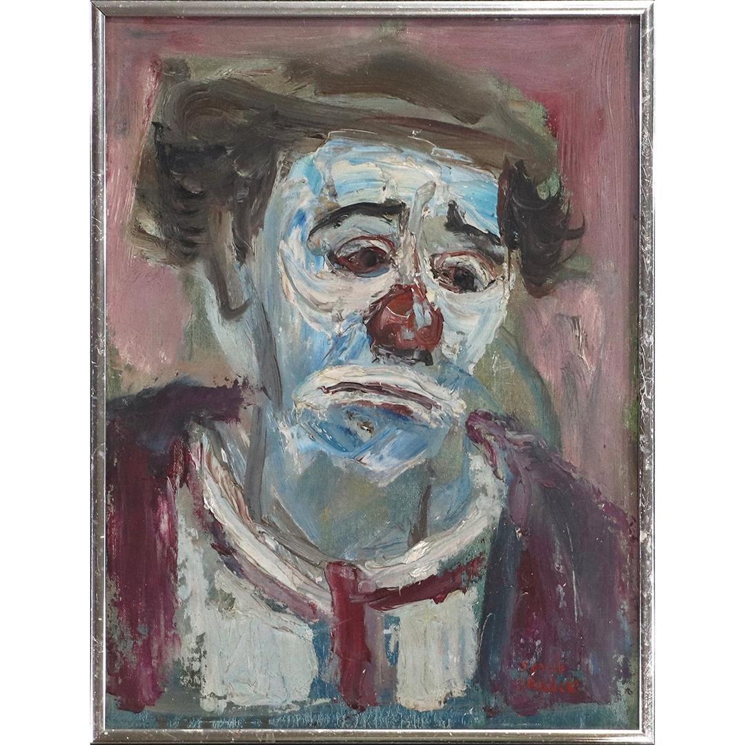 David Pallock 1906-1977 Oil/b Portrait Sad Clown