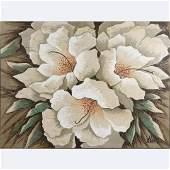 "Lee Reynolds [Lee Burr] Large Oil/c ""White Flowers"""