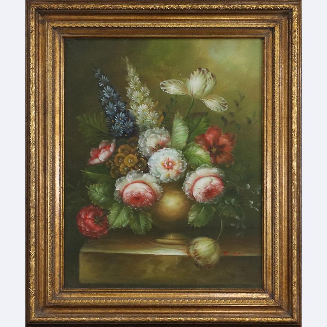 Mc Gyver, 20th C. Still Life Arrangement Flowers Oil/c
