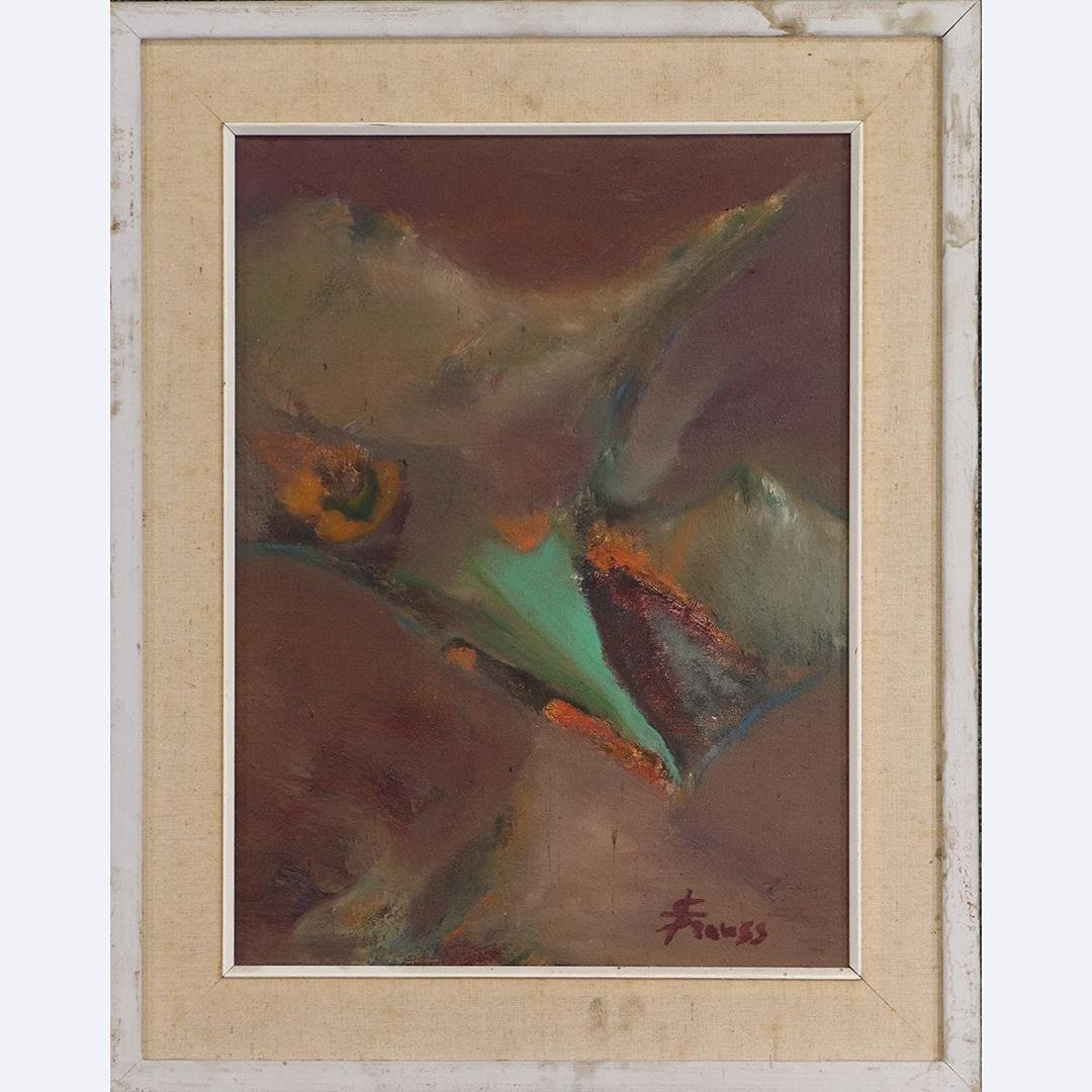 Strauss, Mid-Century Modern Abstract Oil Painting