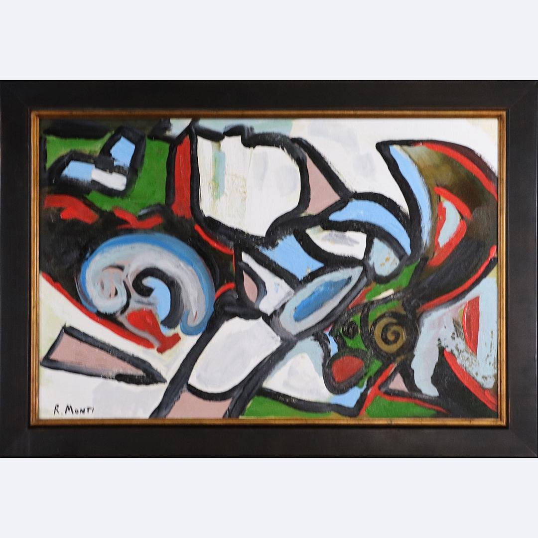 R. Monti, Mid-Century Abstract Composition Painting O/c