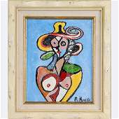 R. Monti after Picasso, Abstract Portrait Topless Girl