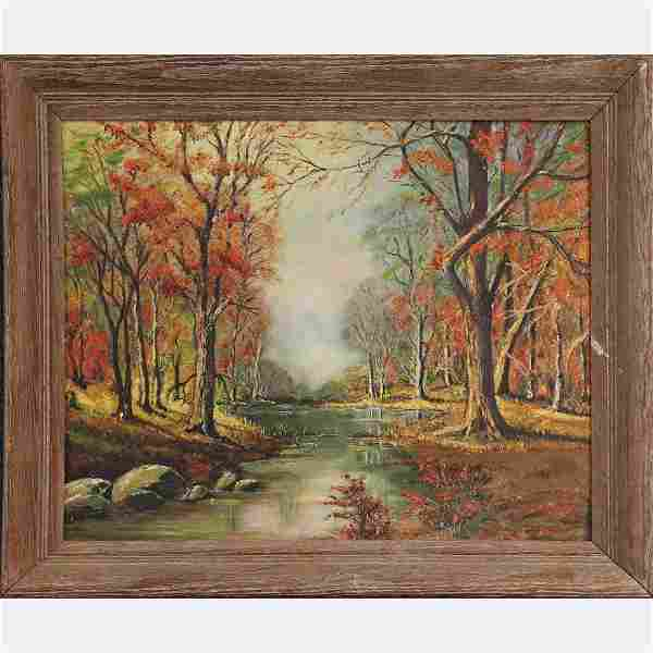 after Robert Woods, Oil/b Autumn Landscape with Stream