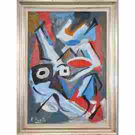R. Monti, Mid-Century Abstract Portrait Oil Painting