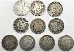 [10] Ten Assorted 1800s U.S Morgan Silver Dollars