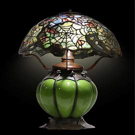 TIFFANY STUDIOS NEW YORK Cobweb Leaded Glass Table Lamp