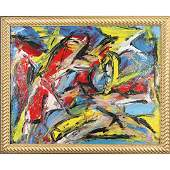 Pulgini after DeKooning, Oil/b Abstract Composition