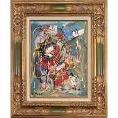 R Monti MidCentury Modern Abstract Drip Art Oilc