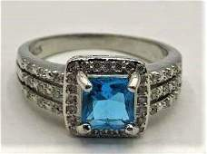.925 Sterling Silver Aquamarine with CZ Ring Size 8