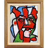 R Monti MidCentury Modern Abstract Oilc Red Face