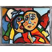 R Monti, Mid-Century Modern Oil/c Double Abstract Faces