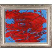 Pulgini MidCentury Modern Ob Abstract Red on Blue