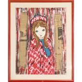 Zancot, Mid-Century Mixed Media Collage Red Coat Girl