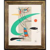 after Joan Miro, Watercolor Abstract Lines, Fish