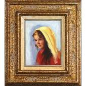 Sandu Liberman 1923-1977, Oil/c Young Girl Portrait