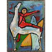 R Monti MidCentury Modern Abstract Red Figure Horse