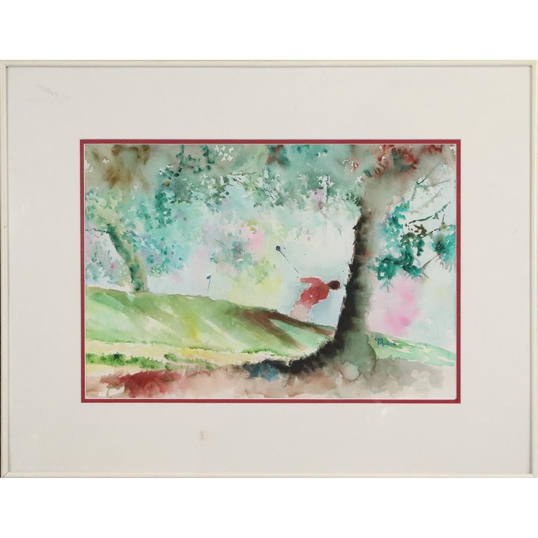 Gus Muller Watercolor Painting Golfer In Landscape Nov 09 2020 Donny Malone Auctions In Ny