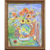 Jehudith Sobel 1924-2011 Polish, O/c Still Life Flowers