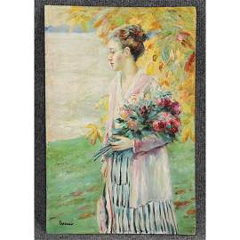 Edward Alfred Cucuel, Oil/b, Woman Holding Bouquet