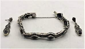 925 Sterling Marcasites Black Onyx Bracelet  Earrings