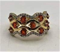 14 K Yellow Gold Ring Orange Sapphires Diamonds Band