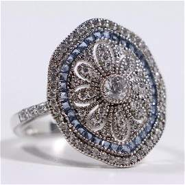 Exquisite.925 Sterling Blue Topaz Rhinestones Ring