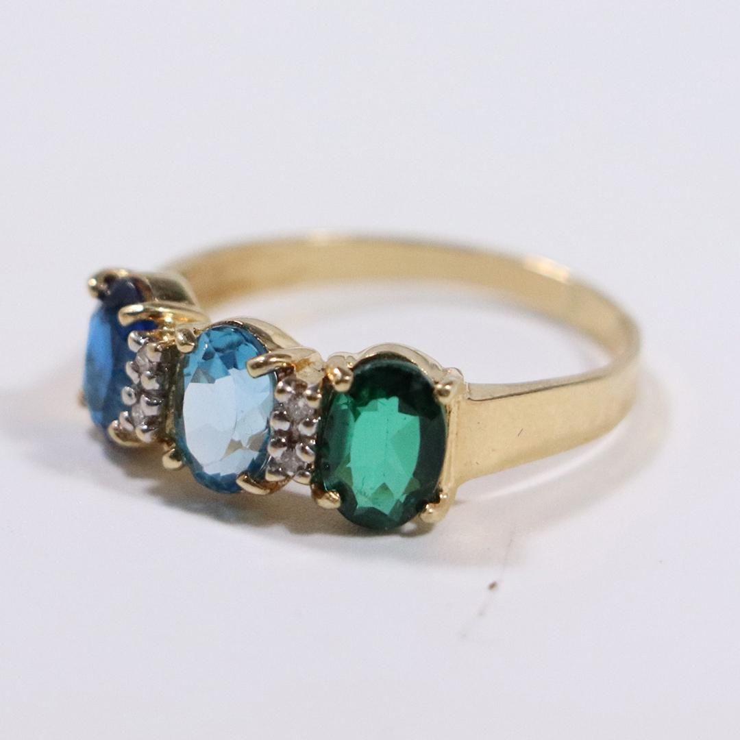14 K Yellow Gold Ring Emerald Blue Topaz Blue Amethyst