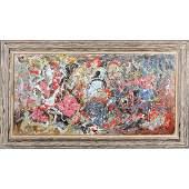 MidCentury Modern Oilc Abstract Drip Art Painting