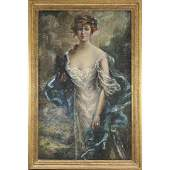 HOWARD CHANDLER CHRISTY Oil/p/b The Baroness Rieder
