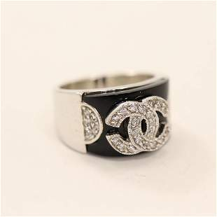 CHANEL .925 Sterling Silver Ring with Black Onyx size 8