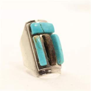 C Thunderfoot Sterling & Turquoise Native American Ring