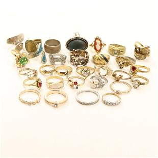 [30] Thirty Assorted Costume Jewelry Rings - Vintage